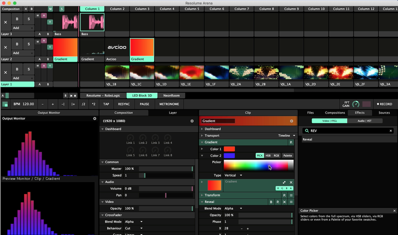 Resolume Arena制作音频可视化效果